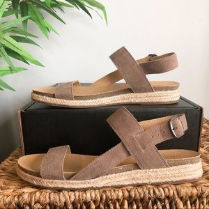 NEW Lucky Brand Gadine Suede Espadrille Sandals